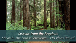 Micaiah: The Lord is Sovereign - His Plans Prevail