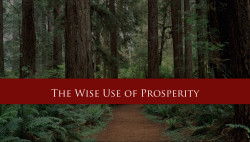 The Wise Use Of Prosperity